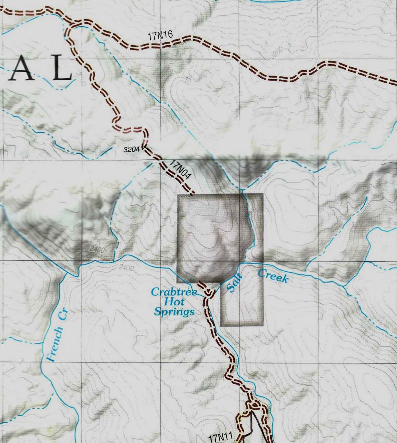 OVH Map Show No Road Thru Crabtree Hot Springs