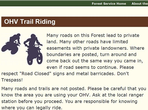 Forest Service Website OHV Trail Riding