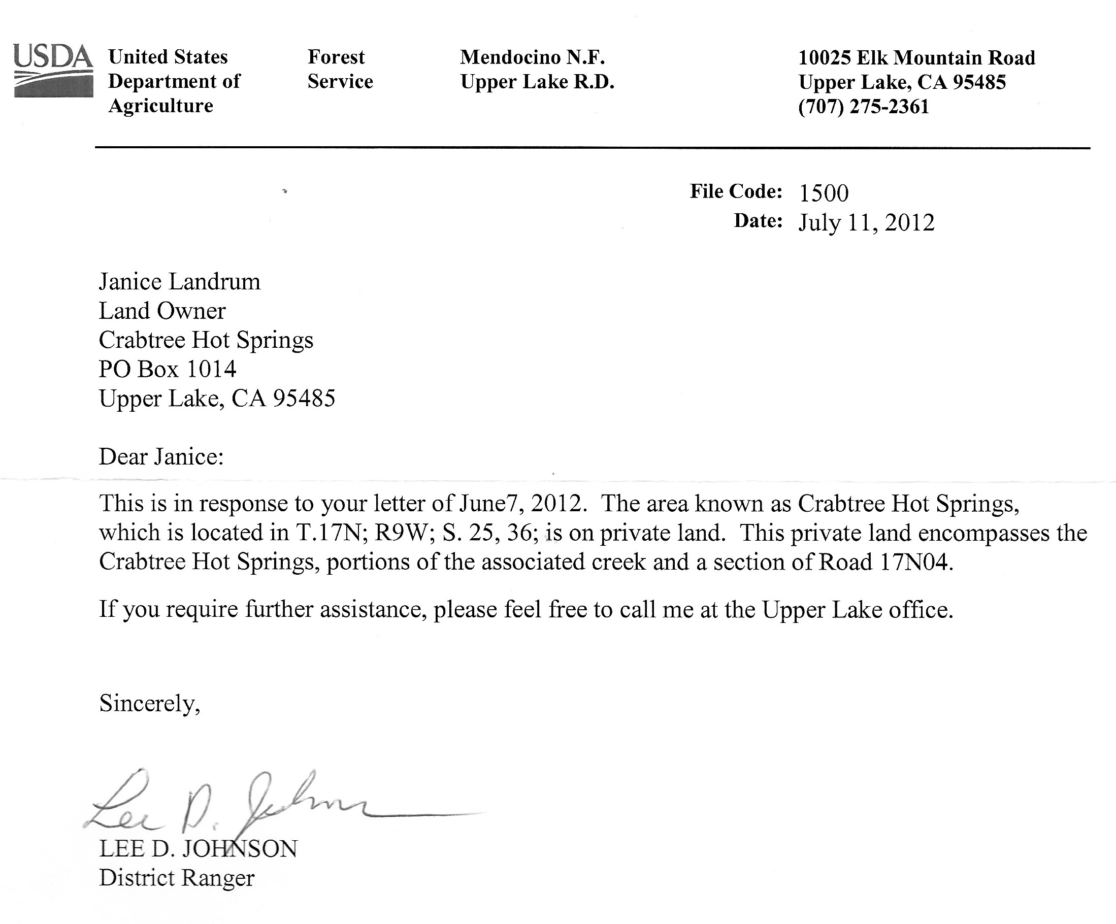 USDA Letter About Crabtree Hot Springs